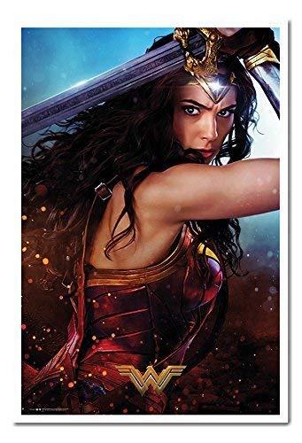 iPosters Wonder Woman Verteidigen Poster Magnettafel weiß gerahmt, 96,5x 66cm (ca. 96,5x 66cm) (Wonder Woman Blatt)