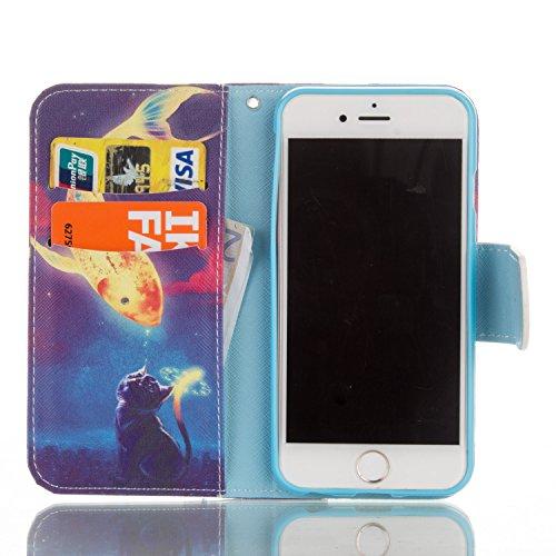 iPhone 6 Plus/6s Plus 5,5 Coque, Voguecase Étui en cuir synthétique chic avec fonction support pratique pour Apple iPhone 6 Plus/6s Plus 5,5 (nombreux chats 06)de Gratuit stylet l'écran aléatoire univ Chat et poissons