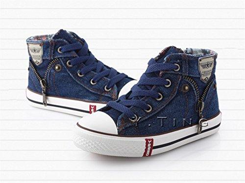 Wealsex Baskets Mode Montantes En Toile Jean Lacets Fermeture Eclair Sneakers Jean Chaussure Printemps Confortables Garçon bleu foncé