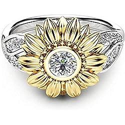 Skyllc Romántico anillos de girasol de oro plateado plata en forma de flor de margarita anillo brillante zirconia anillos para mujeres niñas