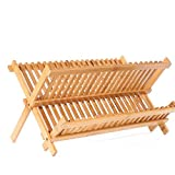 ZHIJINLI Bambus Küche Boden Racks Arbeitsplatte Lagerregal Ablauf Rack Racks Doppelschale Platte Dreieck Regal 2 Schichten 20 Gitter