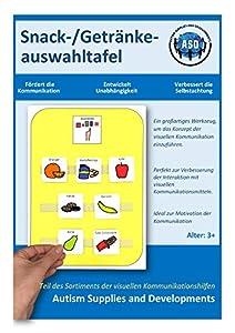 Autism Supplies And Developments-Pizarra Visual de plástico para Aperitivos y Bebidas (alemán) (DE_SC)