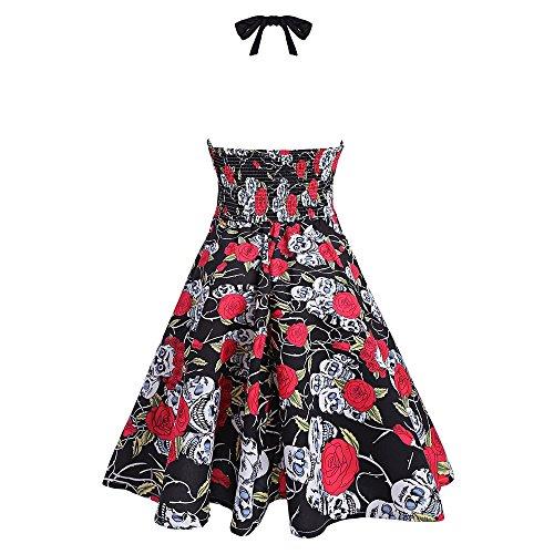 ZAFUL Retro Neckholder ärmellos 1950er Hepburn Kleider Cocktailkleid Rockabilly Swing Kleid Abendkleid Partykleid Vintage Skull Print Dress ROT + SCHWARZ 1
