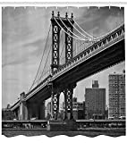 XIAOYI York Shower Curtain, Bridge of NYC Vintage East Hudson River Image USA Travel Top Place City Photo Art Print, Fabric Bathroom Decor Set with Hooks, 60x72 Inches, Grey
