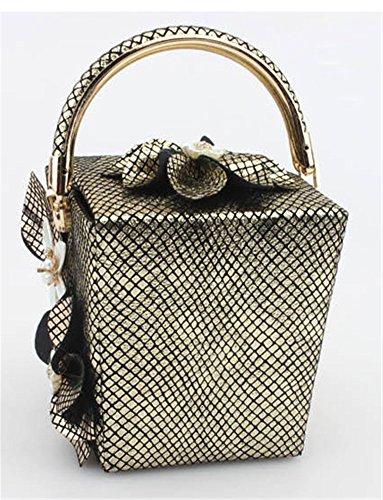 Good Night Borsa a tracolla Donna Fiore Nuovo stile plaid scatola di sera della borsa con maniglia superiore Oro