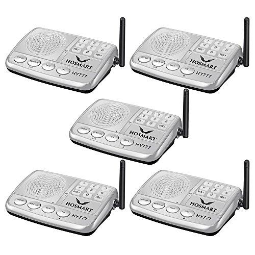 Wireless Intercom System Hosmart 1/2 Mile LONG RANGE 7-Kanal-Sicherheits-Funksprechanlage für Zuhause oder Büro(5 Stationen Silber) (Intercom Long Range Wireless)