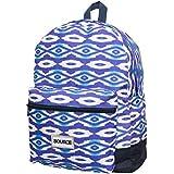 Mochila Casual Juvenil Deporte Lona 25 Litros de Moda Escolar Hombre Mujer Backpack Portátil Urbana Bolsa de Hombro Ikat Rombos Estampados Azul