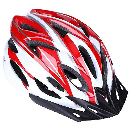 AnySell Casco de Motocicleta, 18 Agujeros, Ultraligero, Moldeado integralmente, Equipo para Montar en Bicicleta de montaña, Hombre, Blanco y Rojo
