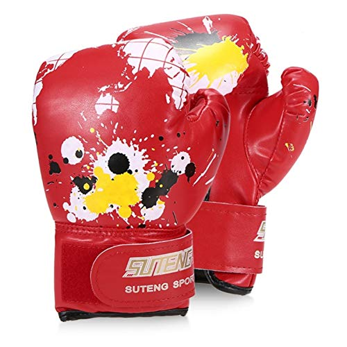 ERHUAN Jungen/Mädchen Boxhandschuhe Leder Boxtraining Schutzhandschuhe Für Kinder Kampf Boxhandschuhe Sicherheitsausrüstungen,Rot,
