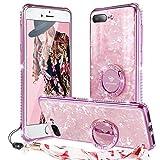 OCYCLONE Funda iPhone 8 Plus, Funda iPhone 7 Plus (5,5 Pulgadas),[Contraportada de Vidrio Templado] Purpurina Diamante Bumper Anillo Stand para Estuche Protector para Mujeres niñas - Rosa