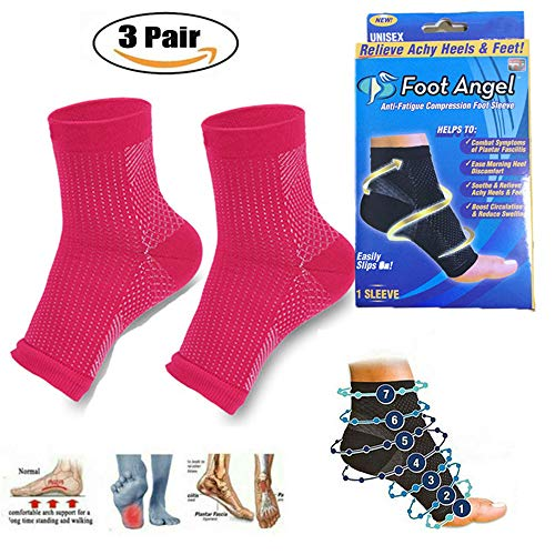 TETEAI Dr Sock Soothers Socks Anti Fatigue Compression Foot Sleeve Support Brace Sock for Ladies and Men,3 (X/L, 3 Pair Red) -