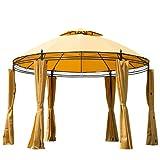 Outsunny® Pavillon Gartenpavillon Partyzelt Gartenzelt Festzelt Doppeldach Rund ?350cm