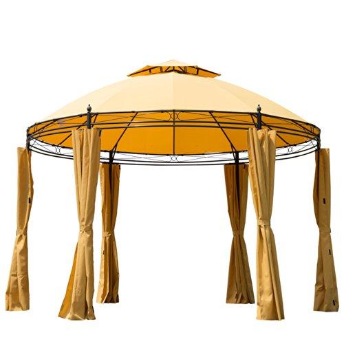 Outsunny runder Pavillon, 3,5m Durchmesser, Metallrahmen, Festzelt mit Seitenwänden, orange