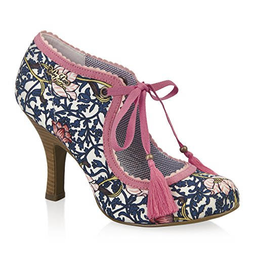 Ruby Shoo en osier tissu Chaussons Pompes et sac miami Bleu marine assorti Motif floral Rouge Tulipe Bleu - Bleu marine/corail