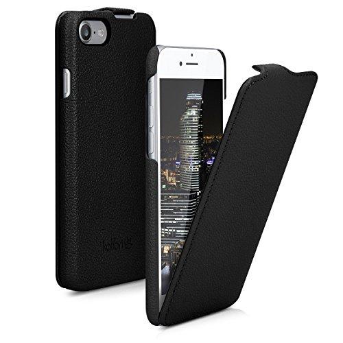kalibri Flip-Hülle Ultra Slim Tasche für Apple iPhone 7/8 - Leder Schutzhülle Case in Schwarz Schwarz Leder Iphone