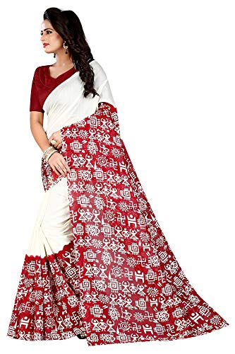 Indian Women's Art Silk Kalamkari and Bhagalpuri Style Sari with Blouse Piece VASUNDHRA RED