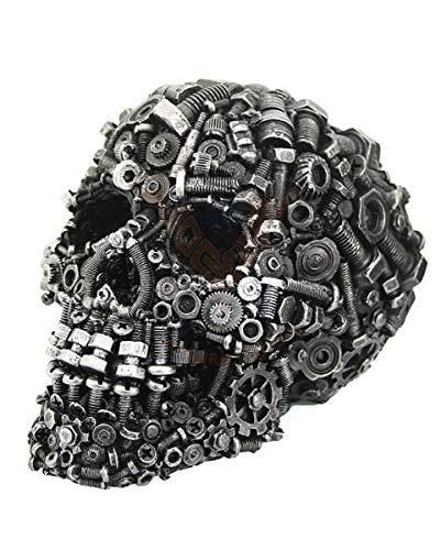 Horror-Shop Totenschädel mit eisgrauen Schrauben & Zahnrädern als Steampunk Deko