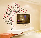 Decals Design 'Beautiful Magic Tree with Flowers' Wall Sticker (PVC Vinyl, 50 cm x 70 cm, Multicolor)