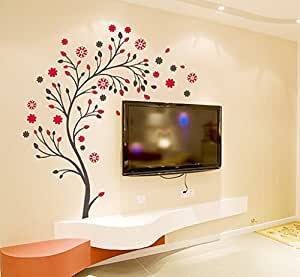 Decals Design 'Beautiful Magic Tree with Flowers' Wall Sticker (PVC Vinyl, 50 cm x 70 cm, Brown and Red)