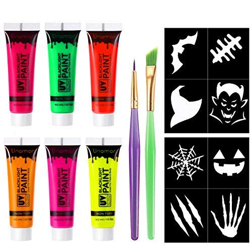 (Unomor Halloween Schminken UV Schwarzlicht Bodypainting, Neon Fluoreszierende Bodypaint Für Halloween Party Kostüm (6Pack x 18ml))