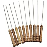 Inditradition Barbecue Skewers for BBQ Tandoor, Grill | Stainless Steel Stick with Wooden Handle, Pack of 10
