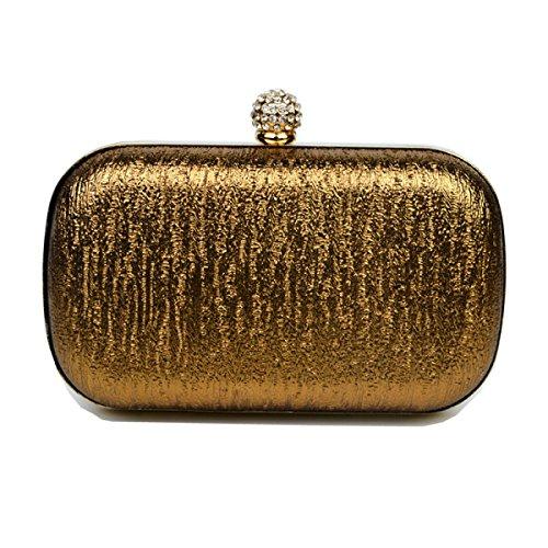 Donna Mini Glitter Coperto Catena Di Tessuto Duro Della Lega La Cassa Della Cinghia Di Moda Frizione Della Borsa Gold