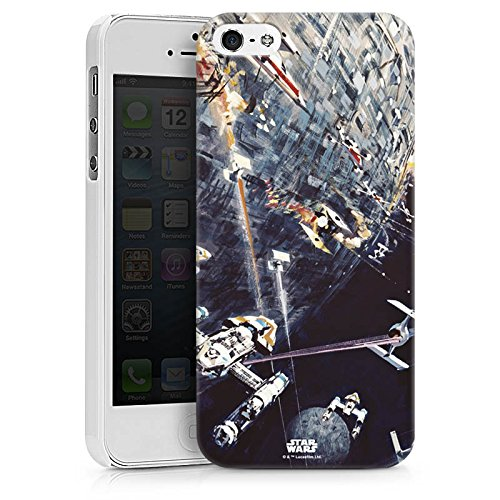 Apple iPhone 5s Hülle Case Handyhülle Star Wars Merchandise Fanartikel Todesstern Hard Case weiß