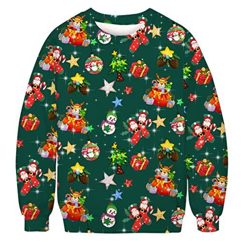 XINAINI Pullover Unisex Weihnachtspullover Rundhals Strickpullover Sweatshirts Casual Warm Einfarbig Langarmshirts Tops - 3D Elk/Weihnachtsmann Jumper Winterpulli Winterpullover(XXXXXL,Grün)