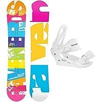 Snowboard Set: Snowboard Raven Infinity Rocker + Bindung Rage RX540 White S/M