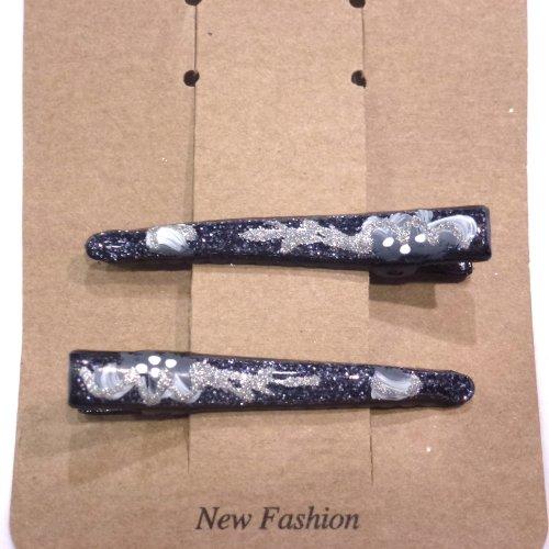 rougecaramel - Accessoires cheveux - Mini pinces pailletté lot de 2 pcs - gris