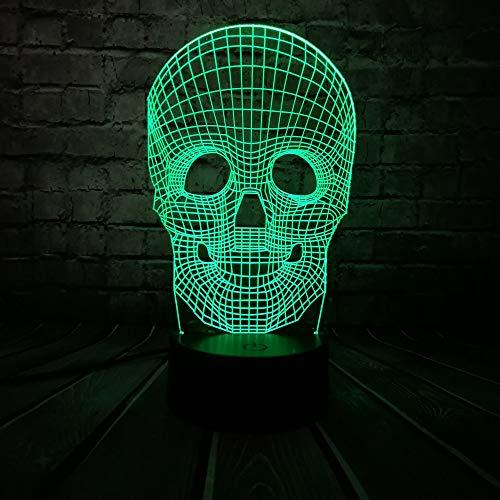 Halloween Schädel Bunte 3D USB LED Lampe Optische Täuschung Tisch Nachtlicht Touch Remote Schreibtisch Beleuchtung Urlaub Dekor, Sieben-farben-touch