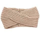 DELEY Mujeres Crochet Bohemio de la Cruz de Punto de Invierno Diadema Gorro Turbante Headwrap Oído más Cálido Beige