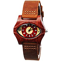 ECVILLA Women's Eye-shaped Red Wooden Watch with Leather Band Lady's Bracelet Watch