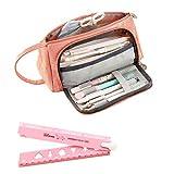Pink Pencil Case durevole caso matita di grandi dimensioni per scuola ufficio College Girl adulto con 1righello pieghevole in plastica 30cm/30cm