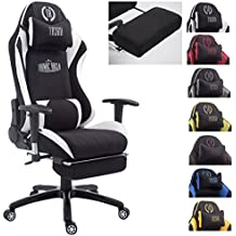 CLP Silla de oficina DRIFT XL. La silla gaming Drift XL tiene tapizado de tela y soporta un peso máximo de 150 kg. Con reposapiés y cojines para cuello y lumbares. negro/blanco, con reposapiés