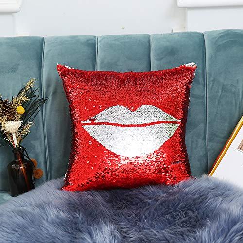 loudi Zweifarbige Flip Positionierung Stickerei Pailletten Schönheit Liebe Fall Kissen Kissen Ohne Kern 40 x 40cm Lippen 2 -