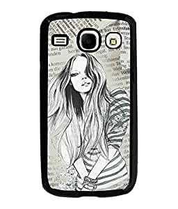 Fuson Newspaper Pattern Girl Back Case Cover for SAMSUNG GALAXY COREi 8262 - D3715
