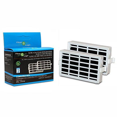 FilterLogic | 2er Pack - Antibakterielle Hygiene Luftfilter für Bauknecht Whirlpool Side-by-Side Kühlschrank - Microban ANT001, ANT-001, ANTF-MIC, HYG001, 481248048172 kompatibel