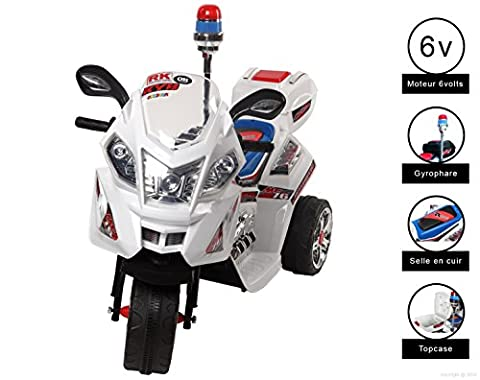 MOTO ELECTRIQUE 6 VOLTS Cristom ® , CONNECTION MP3 , SIEGE SIMILICUIRE , GIRO POLICE