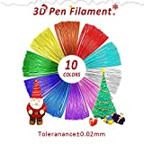 1.75mm PLA Filament,3D Pen Refills,10 Colors,16 Ft/5M Each,Total 164 Feet,Dimensional Accuracy ±0.02,Vacuumed Sealed Package,300 3D Printing Pens Enotepad PLA Filament Set