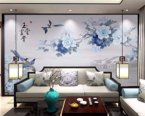 efinierte 2019 Chinesischen Stil Stift Pfingstrose Yutang Reiche Magnolie Chinesischen Tv Hintergrund Wallpaper Tapete Tapete-250X175Cm,Wandbild ()