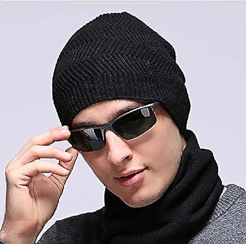 Mode d'Hiver Chaude et Confortable en polaire tricotée Mélange d'alpinisme Bonnet, pêche, chasse, casquette, bonnet de Patinage, noir, le café noir