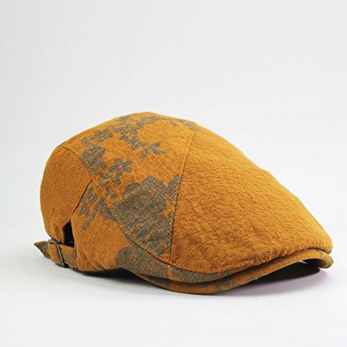 GUYOULY Printemps Et Automne Chine Vent Cap Femelle Beret National Vent Avant Cap Homme Coton Respirant Chapeau Homme Voyage,56-58Cm,Impérial Jaune B