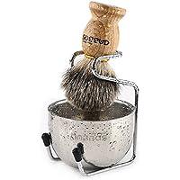 Rasierset Luxus Herren Geschenk Set Rasierpinsel Dachshaar silberspitz mit Rasierschale und Pinselhalte Klassische Nassrasur
