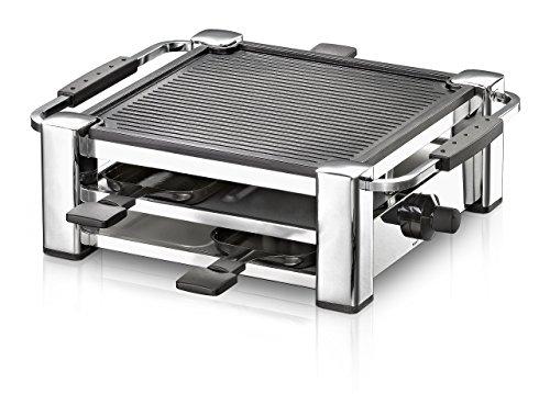 ROMMELSBACHER RCC 1000 Raclette-Grill (extra langes Kabel (2m), Tischgrill für 4 Personen, gerippte Alu-Druckguss-Grillplatte, Xylan Plus Antihaftbeschichtung, Parkdeck, 1000 W) chrom