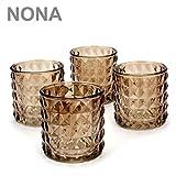 NONA KAYO rost braun - 4er Set Teelichtglas schwer - Teelichtgläser Kerzenglas Kerzengläser orientalisch vintage