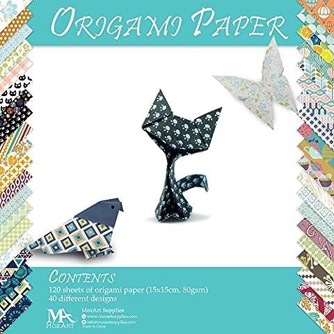 Set papier origami - 120 feuilles - Papier traditionnel japonais à plier comprenant de motifs floraux, animaux, aztèques, géométriques - Créez des fleurs, une grue, une chouette, un dragon, des animaux - Papiers origami pour enfants & adultes