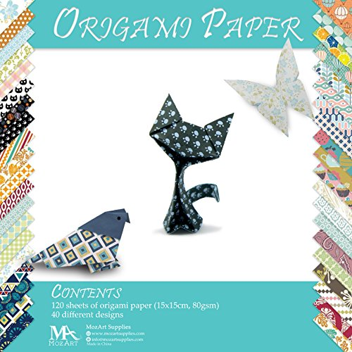 51cAD1gsDOL BEST BUY #1Origami Paper Set   120 Sheets   Traditional Japanese Folding Papers including Floral, Animal Prints, Aztec, Geometric  Origami Flowers, Crane, Owl, Dragon, Animals  Origami papers for Kids and Adults price Reviews uk