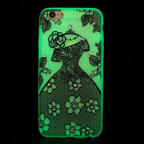 Coque iPhone 6S Plus , Coque iPhone 6 Plus , Anfire Lumière Noctilucent Etui Souple Flexible en Premium TPU Apple iPhone 6 Plus / 6S Plus (5.5 pouces) Ultra Mince Gel Silicone Transparent Clair Housse Fleur