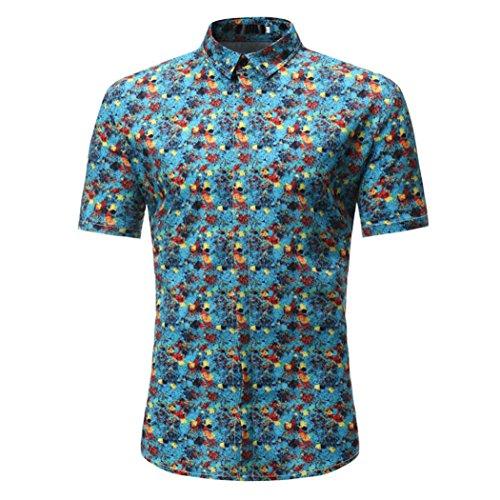 VEMOW Sommer Vatertag Geschenk Mann Retro Floral Bedruckte Casual Tägliche Sport Datum Bluse Casual Kurzarm Dünne Shirts Tops Pullover(Blau, EU-58/CN-3XL)